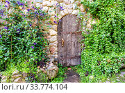 Rough old wooden door with forged massive metal elements. Стоковое фото, фотограф FotograFF / Фотобанк Лори