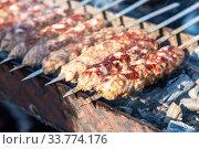 Купить «Oriental turkish kebap and shashlik skewer», фото № 33774176, снято 5 октября 2019 г. (c) FotograFF / Фотобанк Лори