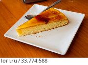 Купить «Sweet Catalan cream pie dessert with caramel crust», фото № 33774588, снято 2 июля 2020 г. (c) Яков Филимонов / Фотобанк Лори