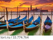Купить «Gondolas in Venice», фото № 33774764, снято 3 июня 2020 г. (c) Sergey Borisov / Фотобанк Лори