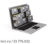 laptop with filing cabinet on white background. Isolated 3D illustration. Стоковая иллюстрация, иллюстратор Ильин Сергей / Фотобанк Лори