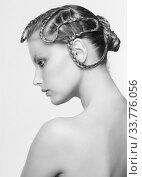 Купить «Black and white portrait in high key tone female with creative hairdo braids», фото № 33776056, снято 30 января 2012 г. (c) Serg Zastavkin / Фотобанк Лори