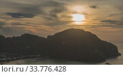 Купить «Time lapse of day clouds over the wonderful bay of Phi Phi island landscape with boats. Andaman sea lagoon.», видеоролик № 33776428, снято 24 апреля 2019 г. (c) Александр Маркин / Фотобанк Лори