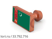 Купить «Wooden stamp with Turkmenistan flag image with hi-res rendered artwork that could be used for any graphic design.», фото № 33792716, снято 13 июля 2020 г. (c) age Fotostock / Фотобанк Лори