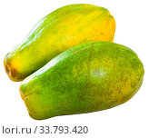 Купить «Papaya fruit isolated over white background», фото № 33793420, снято 6 июня 2020 г. (c) Яков Филимонов / Фотобанк Лори