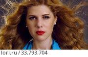 Купить «Slow motion flying hair and woman face with hypnosis look», видеоролик № 33793704, снято 29 декабря 2019 г. (c) Gennadiy Poznyakov / Фотобанк Лори
