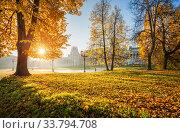 Купить «Осенние краски и дворец в Царицыно», фото № 33794708, снято 15 октября 2018 г. (c) Baturina Yuliya / Фотобанк Лори