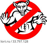 Illustration showing a muscular white rat enclosed in a busted, stop or no entry traffic sign on isolated white background done in retro style. Стоковое фото, фотограф Zoonar.com/patrimonio designs limited / age Fotostock / Фотобанк Лори