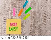 Купить «Conceptual hand writing showing Work Safety. Concept meaning policies and procedures in place to ensure health of employees Note paper and line arrow stickers on the top of wooden table desk», фото № 33798588, снято 29 мая 2020 г. (c) easy Fotostock / Фотобанк Лори