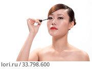 Купить «Facial makeup of young asian beautiful woman on white background», фото № 33798600, снято 26 мая 2020 г. (c) age Fotostock / Фотобанк Лори