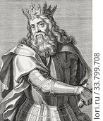 King Pedro I of Portugal, 1320 - 1367. Nicknamed The Just, and The Cruel. King Peter I of Portugal. After a 17th century engraving. (2019 год). Редакционное фото, фотограф Classic Vision / age Fotostock / Фотобанк Лори
