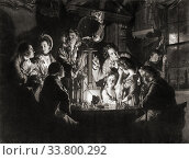 Купить «An Experiment on a Bird in the Air Pump. 18th century. From a print by Valentine Green, after the painting by Joseph Wright of Derby. A natural philosopher...», фото № 33800292, снято 7 июля 2019 г. (c) age Fotostock / Фотобанк Лори