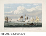Dutch merchant ships leaving Portsmouth harbour on June 2, 1833. From an etching dated 1835 by Robert Havell after John Christian Schetky. England had... (2019 год). Редакционное фото, фотограф Classic Vision / age Fotostock / Фотобанк Лори