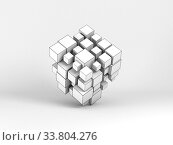 Abstract white random sized cubes array 3 d. Стоковая иллюстрация, иллюстратор EugeneSergeev / Фотобанк Лори