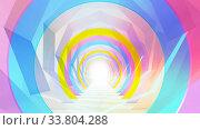 Купить «Abstract cgi background, colorful tunnel interior. 3d», иллюстрация № 33804288 (c) EugeneSergeev / Фотобанк Лори