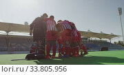 Купить «Hockey players preparing before a game», видеоролик № 33805956, снято 18 ноября 2019 г. (c) Wavebreak Media / Фотобанк Лори