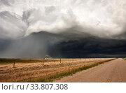 Купить «Storm Clouds Saskatchewan ominous skies and warnings», фото № 33807308, снято 1 июня 2020 г. (c) age Fotostock / Фотобанк Лори
