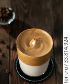 Купить «Dalgona coffee, copy space», фото № 33814924, снято 19 мая 2020 г. (c) Ольга Сергеева / Фотобанк Лори