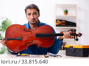 Купить «Young male repairman repairing cello», фото № 33815640, снято 25 октября 2019 г. (c) Elnur / Фотобанк Лори