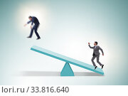 Купить «Competition concept with businessman and seesaw», фото № 33816640, снято 27 мая 2020 г. (c) Elnur / Фотобанк Лори