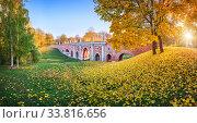 Купить «Мост через овраг и осенние листья в Царицыно», фото № 33816656, снято 15 октября 2018 г. (c) Baturina Yuliya / Фотобанк Лори