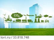 Купить «Carbon tax concept with industrial plant», фото № 33818748, снято 21 мая 2020 г. (c) Elnur / Фотобанк Лори