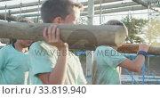 Купить «Group of Caucasian children training at boot camp », видеоролик № 33819940, снято 7 февраля 2020 г. (c) Wavebreak Media / Фотобанк Лори