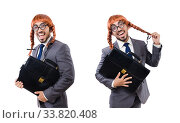 Купить «Funny businessman with female wig isolated on white», фото № 33820408, снято 13 июня 2013 г. (c) Elnur / Фотобанк Лори