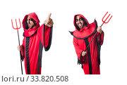 Купить «Man devil in red costume», фото № 33820508, снято 12 июня 2013 г. (c) Elnur / Фотобанк Лори