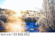 Купить «Winter sunny landscape with river and forest.», фото № 33826652, снято 4 июня 2020 г. (c) easy Fotostock / Фотобанк Лори