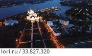 Купить «Aerial view of Assumption Cathedral at Yaroslavl in summer night. Russia», видеоролик № 33827320, снято 27 мая 2019 г. (c) Яков Филимонов / Фотобанк Лори