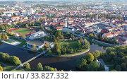 Купить «Flight over the city Ceske Budejovice. Czech Republic», видеоролик № 33827332, снято 12 октября 2019 г. (c) Яков Филимонов / Фотобанк Лори