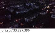 Купить «Typical small Russian town at night. City Pokrov. Vladimir region. Russia», видеоролик № 33827396, снято 11 мая 2019 г. (c) Яков Филимонов / Фотобанк Лори