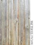 Купить «Old plank wooden unpainted gray fence», фото № 33832356, снято 6 мая 2020 г. (c) Максим Мицун / Фотобанк Лори