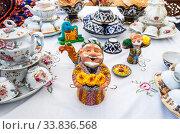 Купить «Ethnic Uzbek ceramics tableware on the table», фото № 33836568, снято 5 октября 2019 г. (c) FotograFF / Фотобанк Лори