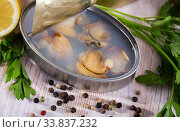 Tin can with sea shellfish in its own juice, closeup. Стоковое фото, фотограф Яков Филимонов / Фотобанк Лори