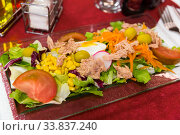 Купить «Salad with marinated tuna, vegetables, boiled carrot and lettuce», фото № 33837240, снято 11 июля 2020 г. (c) Яков Филимонов / Фотобанк Лори