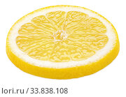 Slice of lemon citrus fruit isolated on white. Стоковое фото, фотограф Роман Самохин / Фотобанк Лори