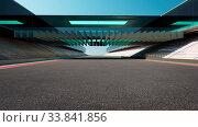 Купить «View of the infinity empty asphalt international race track with modern glass facade bridge, noon scene. 3d rendering.», фото № 33841856, снято 26 мая 2020 г. (c) easy Fotostock / Фотобанк Лори