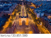 Aerial night view of Arc de Triomphe, Barcelona (2019 год). Стоковое фото, фотограф Яков Филимонов / Фотобанк Лори