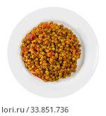 Купить «Stewed green peas with ham», фото № 33851736, снято 6 июля 2020 г. (c) Яков Филимонов / Фотобанк Лори