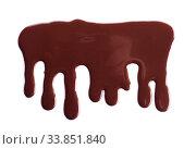 Купить «Melted chocolate is dripping. Streams isolated on white.», фото № 33851840, снято 4 марта 2019 г. (c) Сергей Молодиков / Фотобанк Лори