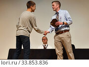 Купить «Teacher Congratulating Middle School Student on Academic Award, Wellsville, New York, USA.», фото № 33853836, снято 27 мая 2020 г. (c) age Fotostock / Фотобанк Лори