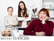 Купить «Senior woman offended after quarrel with family», фото № 33858260, снято 25 ноября 2017 г. (c) Яков Филимонов / Фотобанк Лори
