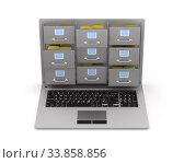 Купить «laptop with filing cabinet on white background. Isolated 3D illustration», иллюстрация № 33858856 (c) Ильин Сергей / Фотобанк Лори