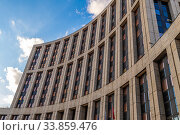 Купить «Moscow, Russia - Feb 21, 2020. Office building on Academician Sakharov Avenue», фото № 33859476, снято 21 февраля 2020 г. (c) Володина Ольга / Фотобанк Лори
