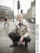 Купить «Man feeling hunch of volatile emotions at street in London, UK.», фото № 33861100, снято 22 января 2020 г. (c) age Fotostock / Фотобанк Лори