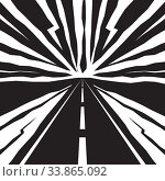 Купить «Road going to horizon and epic speed lines in sky. Dynamic abstract vector illustration with effect motion lines for comic book and manga. Template in black and white colors for design», иллюстрация № 33865092 (c) Dmitry Domashenko / Фотобанк Лори