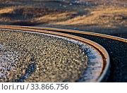 Купить «New Rail Tracks in Saskatchewan Canada curve», фото № 33866756, снято 1 июня 2020 г. (c) age Fotostock / Фотобанк Лори