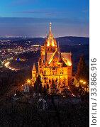 Купить «Beleuchtetes Schloss Drachenburg ueber dem Rheintal am Abend, Siebengebirge, Koenigswinter, Nordrhein Westfalen, Deutschland, Europa», фото № 33866916, снято 2 июня 2020 г. (c) age Fotostock / Фотобанк Лори